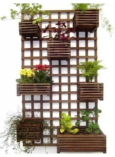 MyWondry Çok Amaçlı Dekoratif Ahşap Raflı Çiçek Saksı Rafı Standı Kahve
